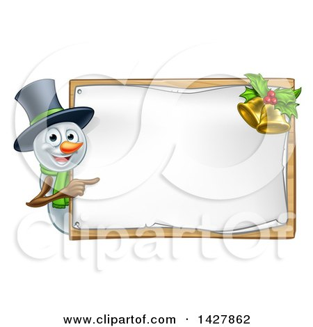 Clipart of a Happy Snowman Wearing a Christmas Top Hat and Pointing Around a Blank Sign with Bells - Royalty Free Vector Illustration by AtStockIllustration