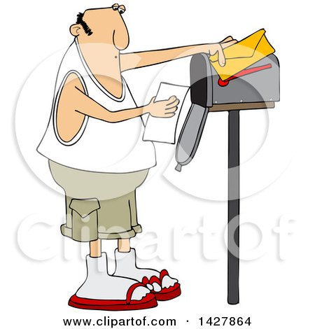Cartoon Chubby Caucasian Man Reading a Letter at His Mailbox Posters, Art Prints