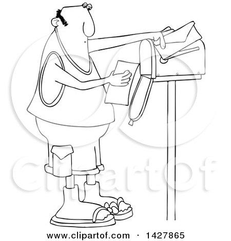 Clipart of a Cartoon Black and White Lineart Chubby Man Reading a Letter at His Mailbox - Royalty Free Vector Illustration by djart