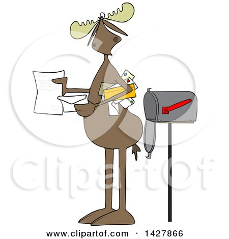 Clipart of a Cartoon Moose Opening a Letter by a Mailbox - Royalty Free Vector Illustration by djart