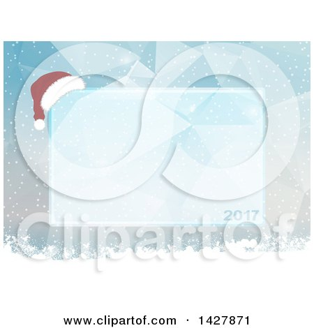 Clipart of a 2017 and Christmas Santa Hat Ice Frame over Low Poly Geometric and Snow - Royalty Free Vector Illustration by elaineitalia