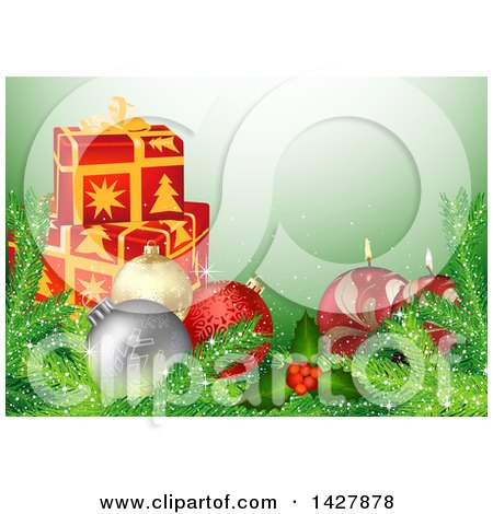 Clipart of a Christmas Background with 3d Gifts, Baubles, Branches, Holly and Candles on Green - Royalty Free Vector Illustration by dero