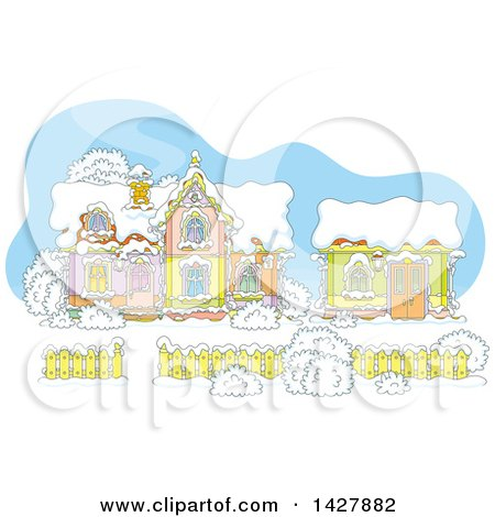 Clipart of the Cartoon House and Work Shop of Santa Claus in a Winter Wonderland - Royalty Free Vector Illustration by Alex Bannykh
