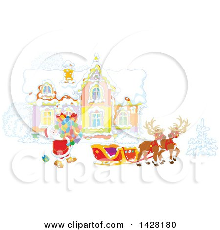 Clipart of Reindeer Waiting As Santa Loads His Sleigh with Christmas Gifts in Front of His Home - Royalty Free Vector Illustration by Alex Bannykh