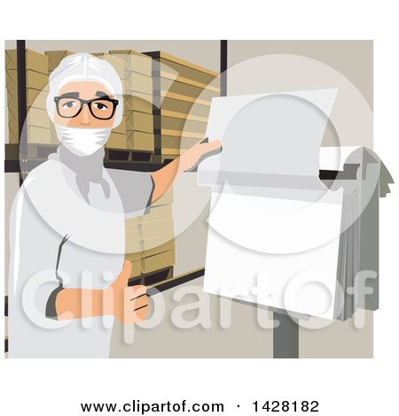 Clipart of a Worker Checking a Sheet - Royalty Free Vector Illustration by David Rey