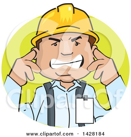 Clipart of a Frustrated Male Worker Wearing a Hardhat and Plugging His Ears - Royalty Free Vector Illustration by David Rey