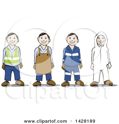 Clipart of a Group of Workers Wearing Safety Gear - Royalty Free Vector Illustration by David Rey
