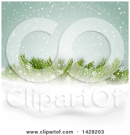Clipart of a Christmas Background with Fir Tree Branches and Snow - Royalty Free Vector Illustration by KJ Pargeter