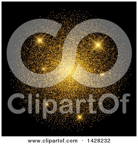 Clipart of a Background of Sparkles and Gold Confetti on Black - Royalty Free Vector Illustration by KJ Pargeter
