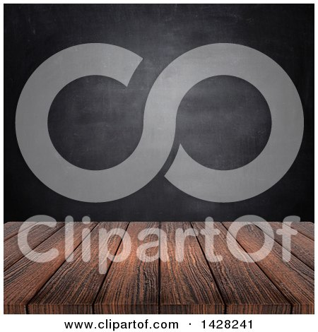 Clipart of a 3d Wood Surface Against a Black Board - Royalty Free Illustration by KJ Pargeter