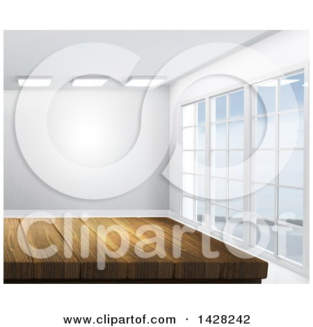 Clipart of a 3d Wooden Counter or Table in an Empty Room - Royalty Free Illustration by KJ Pargeter