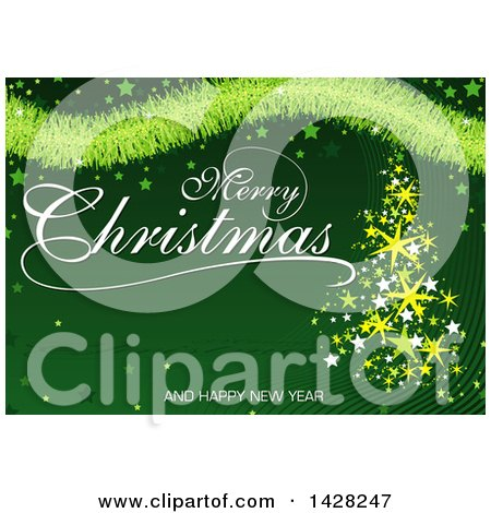Clipart of a Merry Christmas and a Happy New Year Greeting with Stars, Tinsel and a Star Tree on Green - Royalty Free Vector Illustration by dero