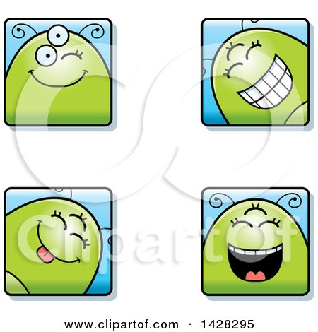 Clipart of Four Winking Alien Faces - Royalty Free Vector Illustration by Cory Thoman