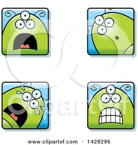 Clipart of Four Scared Alien Faces - Royalty Free Vector Illustration by Cory Thoman