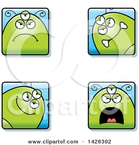 Clipart of Four Mad Alien Faces - Royalty Free Vector Illustration by Cory Thoman