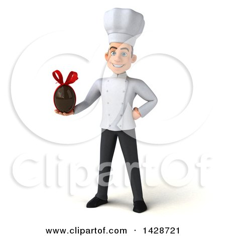 Clipart of a 3d Young White Male Chef, on a White Background - Royalty Free Illustration by Julos