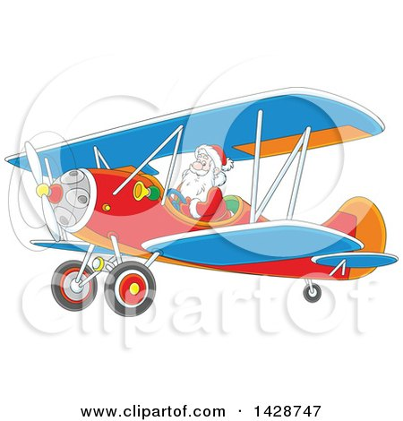 Clipart of a Cartoon Christmas Santa Claus Flying a Biplane - Royalty Free Vector Illustration by Alex Bannykh