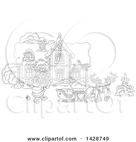 Clipart of Black and White Lineart Reindeer Waiting As Santa Claus Loads His Sleigh with Christmas Gifts in Front of His Home - Royalty Free Vector Illustration by Alex Bannykh