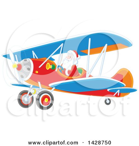 Clipart of a Christmas Santa Flying a Biplane - Royalty Free Vector Illustration by Alex Bannykh