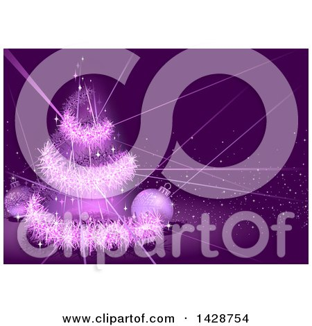 Clipart of a Purple Christmas Background with a Tinsel Tree, Lights and Baubles - Royalty Free Vector Illustration by dero