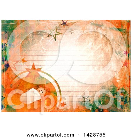 Clipart of a Watercolor Background of Baby Jesus and Stars over Ruled Paper - Royalty Free Illustration by Prawny