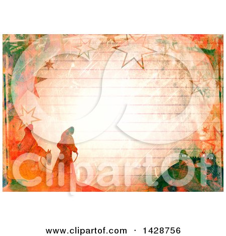Clipart of a Watercolor Background of Mary and Joseph over Ruled Paper - Royalty Free Illustration by Prawny