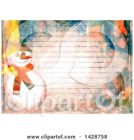 Clipart of a Watercolor Background of a Christmas Snowman over Ruled Paper - Royalty Free Illustration by Prawny