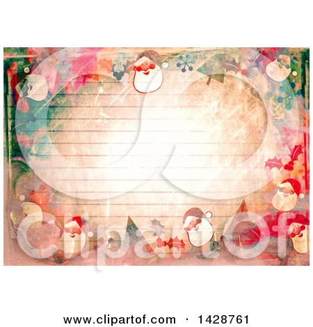 Clipart of a Watercolor Background of Santas over Ruled Paper - Royalty Free Illustration by Prawny
