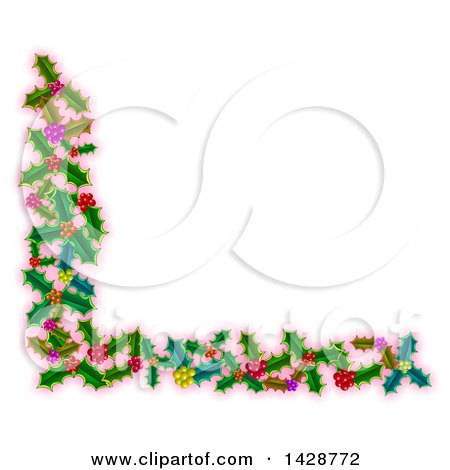 Clipart of a Corner Border of Christmas Holly over Pink - Royalty Free Illustration by Prawny