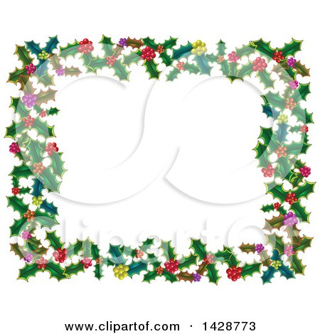 Clipart of a Christmas Frame of Holly Leaves and Berries - Royalty Free Vector Illustration by Prawny
