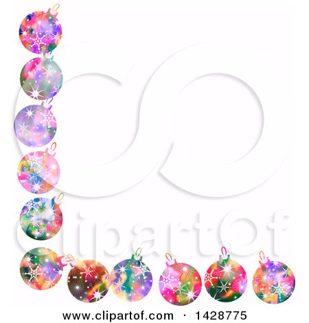 Clipart of a Border of Colorful Christmas Ornaments on White - Royalty Free Illustration by Prawny