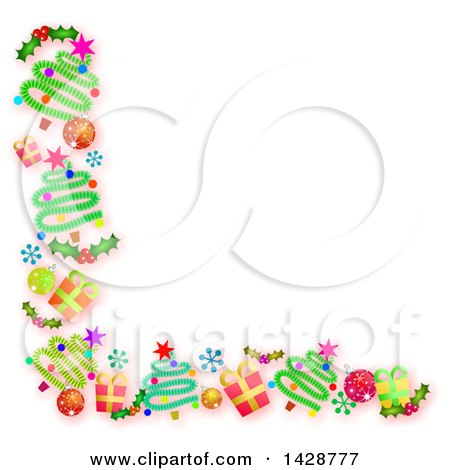 Clipart of a Border of Christmas Trees, Gifts, Snowflakes, Holly and Bauble Ornaments on White - Royalty Free Illustration by Prawny