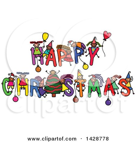 Clipart of a Doodled Sketch of Children Playing on the Greeting Happy Christmas - Royalty Free Vector Illustration by Prawny