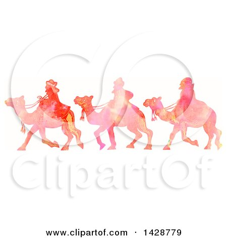 Clipart of a Watercolor Scene of the Magi Wise Men on Camels - Royalty Free Illustration by Prawny