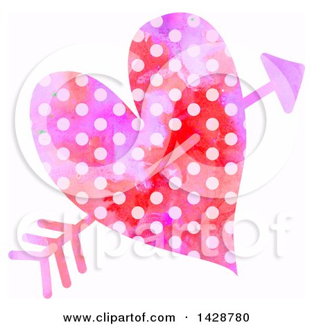 Clipart of a Watercolor Polka Dot Heart Struck with Cupids Arrow - Royalty Free Illustration by Prawny