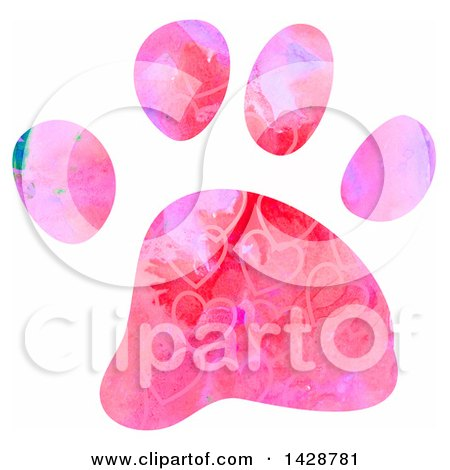 Clipart of a Watercolor Heart Patterned Dog Paw Print - Royalty Free Illustration by Prawny
