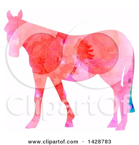 Clipart of a Floral Patterned Watercolor Horse - Royalty Free Illustration by Prawny