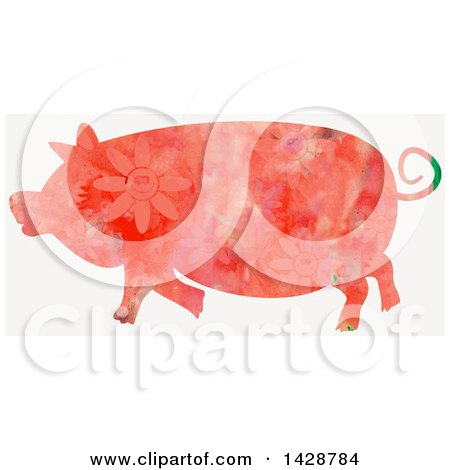 Clipart of a Floral Patterned Watercolor Pig - Royalty Free Illustration by Prawny