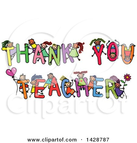 Clipart of a doodled sketch of children playing on the words thank clipart of a doodled sketch of children playing on the words thank you teacher royalty free vector illustration by prawny voltagebd Choice Image