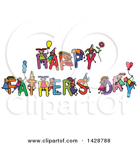 Clipart of a Doodled Sketch of Children Playing on the Greeting Happy Fathers Day - Royalty Free Vector Illustration by Prawny