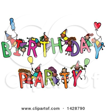 Clipart of a Doodled Sketch of Children Playing on the Words Birthday Party - Royalty Free Vector Illustration by Prawny