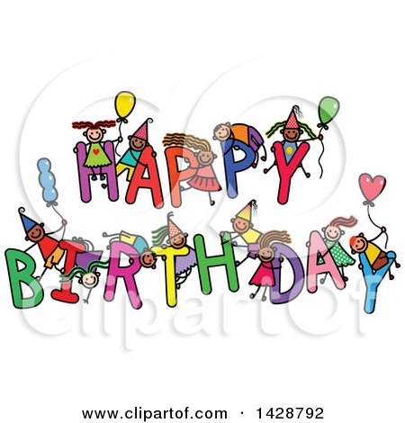 Clipart of a Doodled Sketch of Children Playing on the Words Happy Birthday - Royalty Free Vector Illustration by Prawny