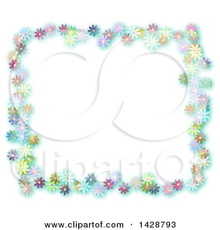 Clipart of a Colorful Border Frame of Daisy Flowers on White - Royalty Free Illustration by Prawny