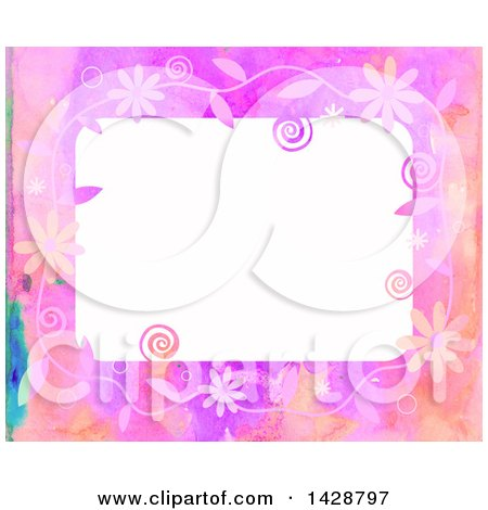 Clipart of a Watercolor Floral Frame with Swirls and Bubbles - Royalty Free Illustration by Prawny