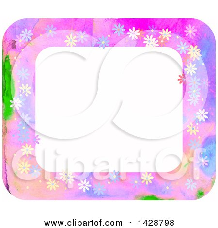 Clipart of a Watercolor Floral Frame - Royalty Free Illustration by Prawny
