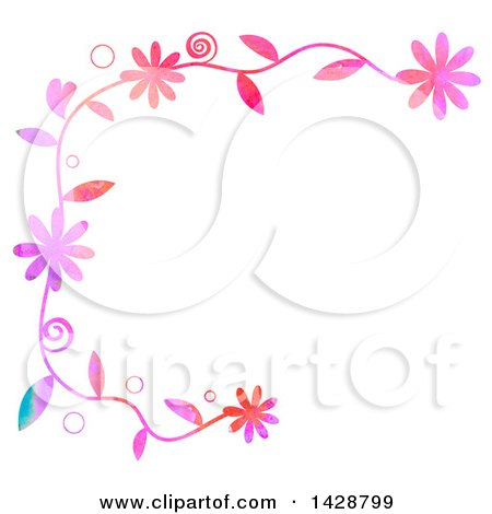 Clipart of a Watercolor Floral Border with Bubbles - Royalty Free Illustration by Prawny