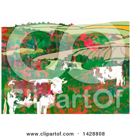 Clipart of a Watercolor Background of Dairy Cows and Hilly Farm Land - Royalty Free Illustration by Prawny