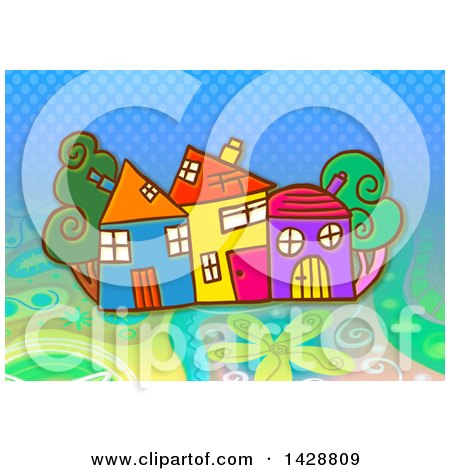 Clipart of Colorful Homes and Trees over Dots and Flowers - Royalty Free Illustration by Prawny