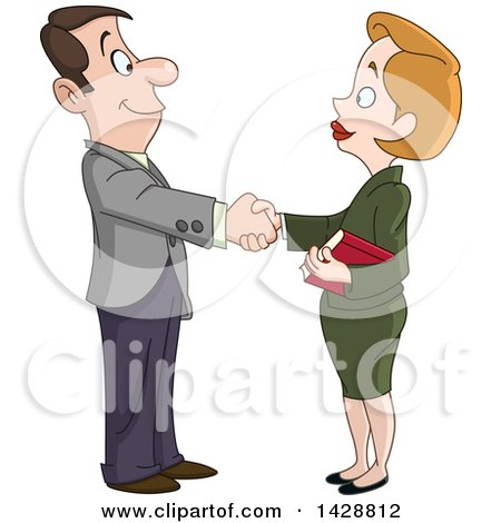 Clipart of a Cartoon Caucasian Business Woman Shaking Hands with a Man - Royalty Free Vector Illustration by yayayoyo