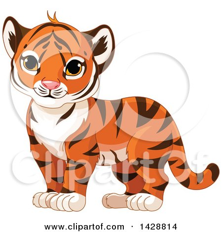 Clipart of a Cute Tiger Cub Standing - Royalty Free Vector Illustration by Pushkin